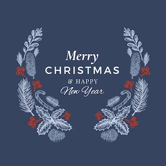 Feliz navidad y próspero año nuevo plantilla de tarjeta, cartel o corona de dibujo dibujado a mano.