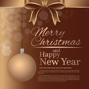 Feliz navidad y próspero año nuevo. plantilla de tarjeta de felicitación navideña con letras doradas, bola de navidad y lazo y cinta beige.