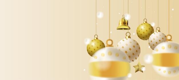 Feliz navidad y próspero año nuevo, ramas de árboles de navidad y fondo de adorno