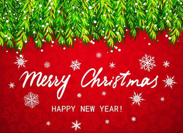 Feliz navidad y próspero año nuevo. ramas de los árboles de navidad con nieve y texto sobre fondo rojo con copos de nieve