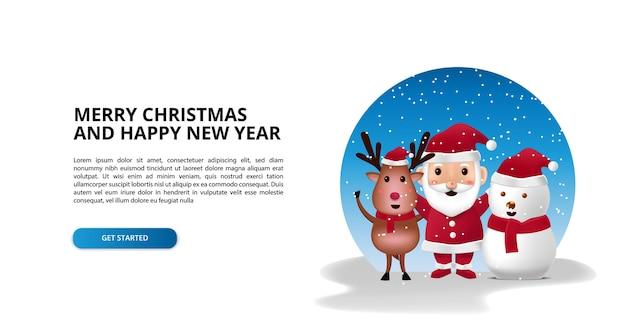 Feliz navidad y próspero año nuevo con reno de personaje de dibujos animados lindo 3d, santa, muñeco de nieve