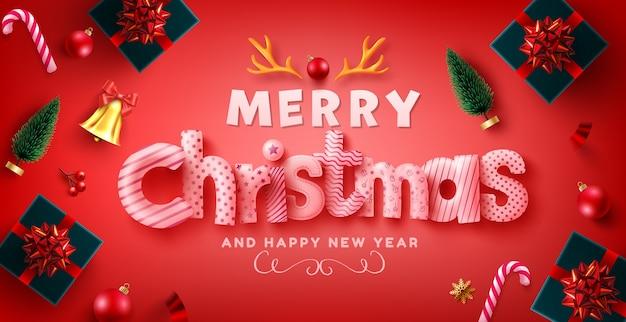 Feliz navidad y próspero año nuevo saludo con cajas de regalo