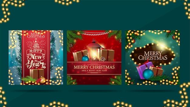Feliz navidad y próspero año nuevo, saludo postales cuadradas con regalos de navidad, guirnaldas, marco de ramas de árboles de navidad y hermosas letras
