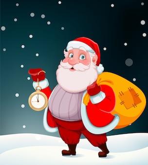 Feliz navidad y próspero año nuevo. santa alegre