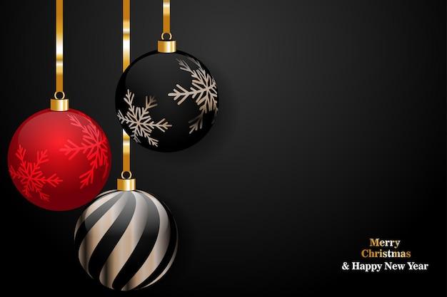 Feliz navidad y próspero año nuevo sobre fondo negro con bola de navidad