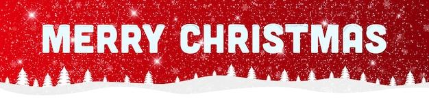 Feliz navidad y próspero año nuevo sobre fondo rojo con paisaje nevado.