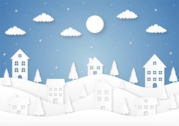 Feliz navidad y próspero año nuevo tarjeta de corte de papel sobre fondo azul.