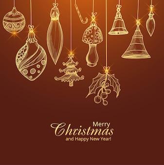 Feliz navidad y próspero año nuevo tarjeta con decoración dorada