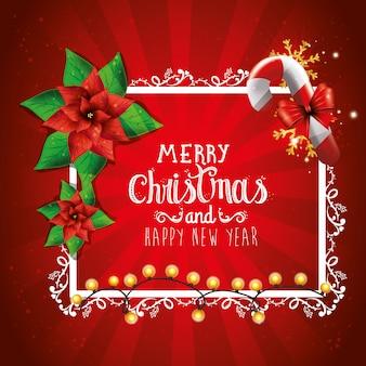 Feliz navidad y próspero año nuevo con tarjeta de decoración
