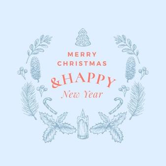 Feliz navidad y próspero año nuevo tarjeta de felicitación abstracta o pancarta con corona de navidad y tipografía retro
