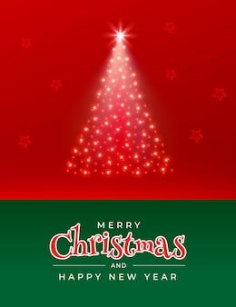Feliz navidad y próspero año nuevo tarjeta de felicitación con árbol de navidad de estrellas brillantes en rojo