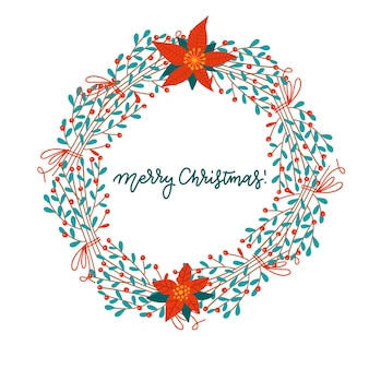 Feliz navidad y próspero año nuevo. tarjeta de felicitación con corona de muérdago floral de navidad.