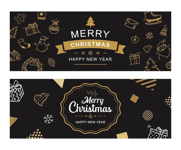 Feliz navidad y próspero año nuevo tarjeta de felicitación con fondo de plantilla dorada vintage.