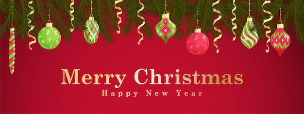 Feliz navidad y próspero año nuevo tarjeta de felicitación horizontal