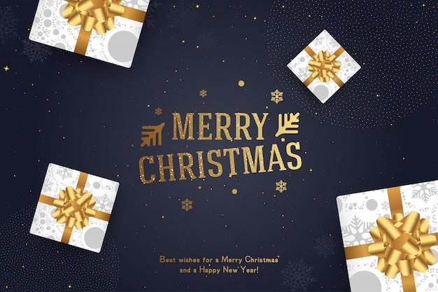 Feliz navidad y próspero año nuevo. tarjeta de felicitación con una inscripción y regalos con lazos y cintas.