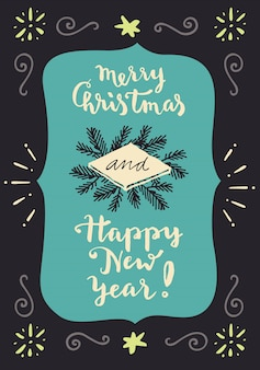 Feliz navidad y próspero año nuevo. tarjeta de felicitación de letras de mano vintage