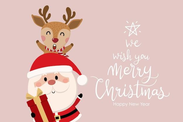 Feliz navidad y próspero año nuevo tarjeta de felicitación con lindo santa claus y ciervos