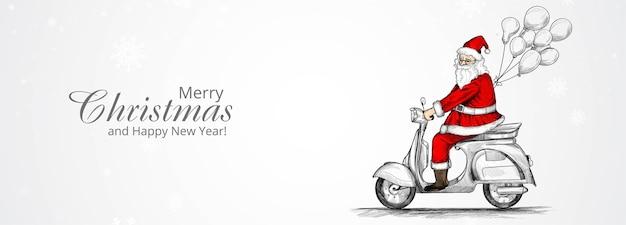 Feliz navidad y próspero año nuevo tarjeta de felicitación con santa claus dibujado a mano en un scooter
