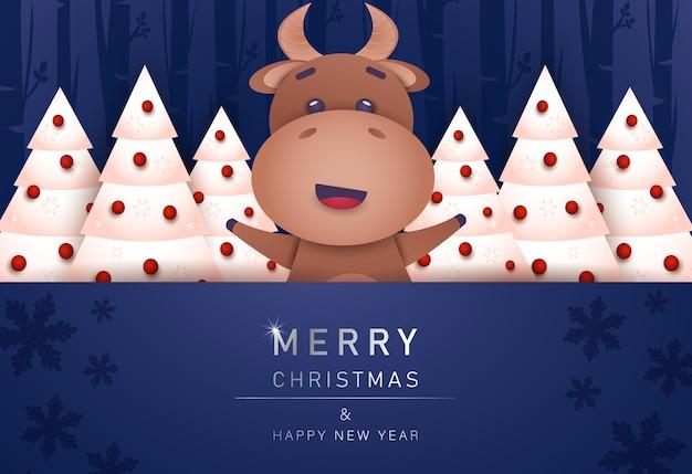 Feliz navidad y próspero año nuevo tarjeta de felicitación con toro