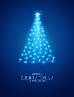 Feliz navidad y próspero año nuevo tarjeta de felicitación vector abeto de estrellas plateadas sobre fondo azul.