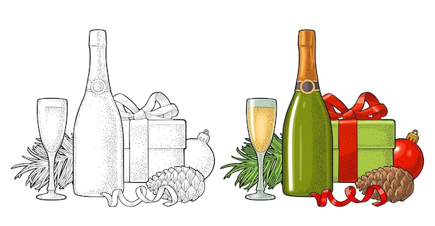 Feliz navidad y próspero año nuevo para tarjeta de felicitación.