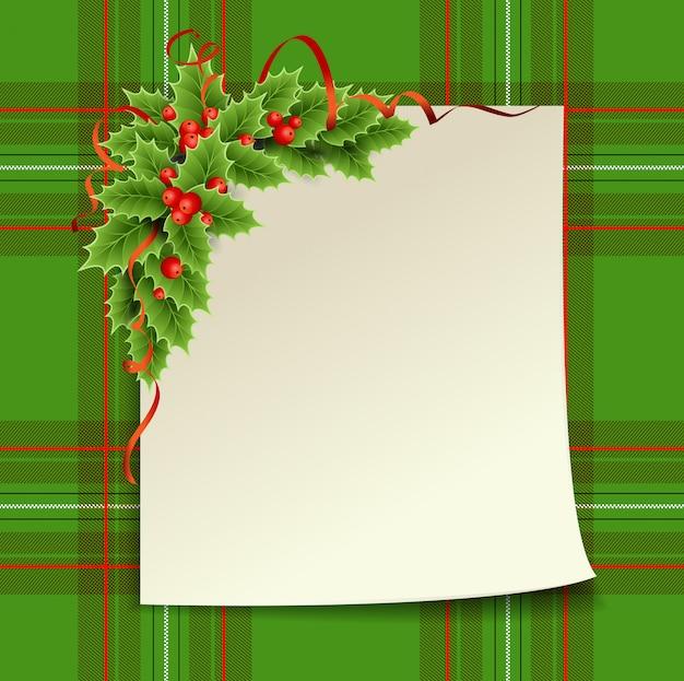 Feliz navidad y próspero año nuevo. tarjeta de navidad con árbol de navidad y jaula escocesa