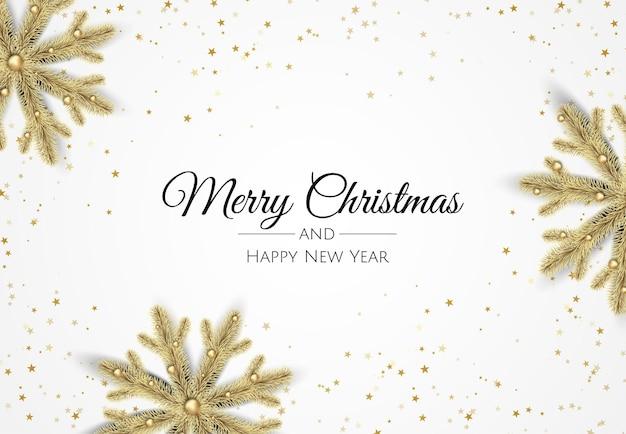 Feliz navidad y próspero año nuevo. vista superior de la composición de fondo festivo. caja de regalo de decoración, bolas de navidad, copo de nieve decorativo.