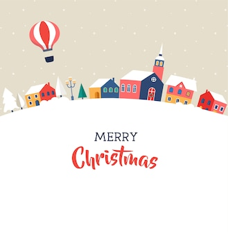 Feliz navidad, pueblo mágico de invierno con letras, carteles modernos, tarjetas de felicitación e ilustraciones