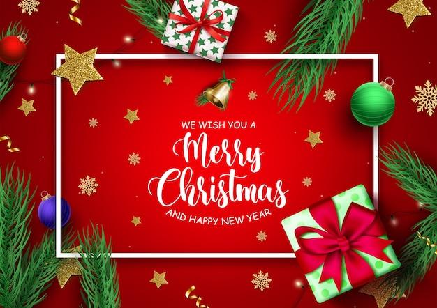 Feliz navidad realista y tarjeta de felicitación roja de año nuevo con regalo y decoración.