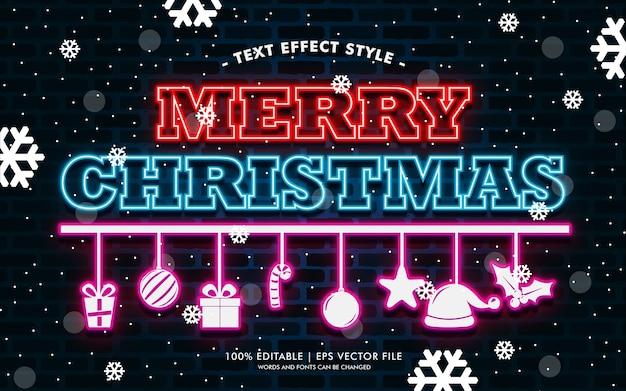 Feliz navidad regalo neón efectos de texto estilo