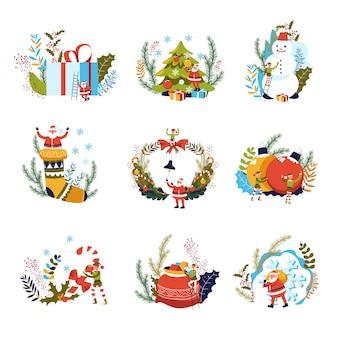 Feliz navidad, regalos y duende con santa claus