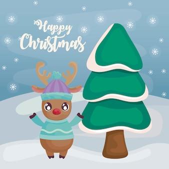 Feliz navidad con renos con árbol de navidad