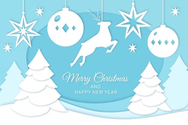 Feliz navidad renos y árboles de navidad en papel estilo