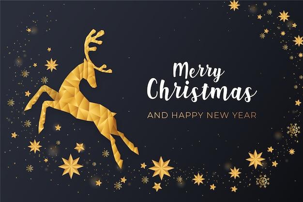 Feliz navidad con renos dorados