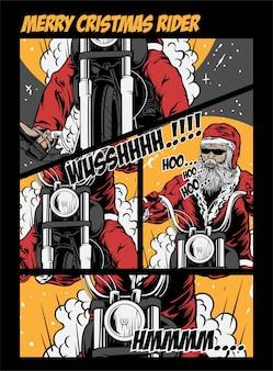 Feliz navidad rider ilustración vectorial santa rider harley