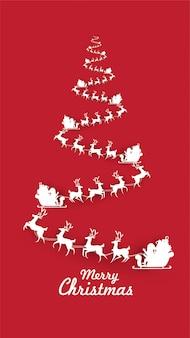 Feliz navidad rojo pino de navidad con trineo de renos