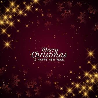 Feliz navidad saludo de celebración brilla fondo