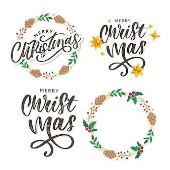 Feliz navidad saludo. elementos de diseño dibujados a mano. letras de pincel moderno manuscritas