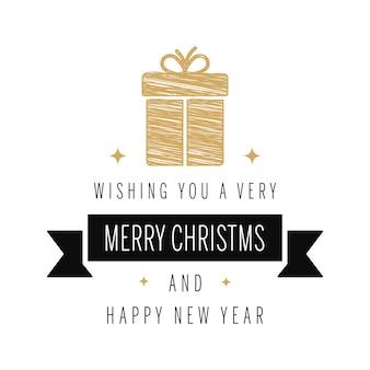 Feliz navidad saludo texto oro garabato regalo blanco fondo