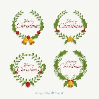 Feliz navidad saludo texto rama guirnalda círculo