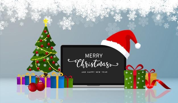Feliz navidad saludos y feliz año nuevo monitor de laptop realista con sombrero de santa. vector.