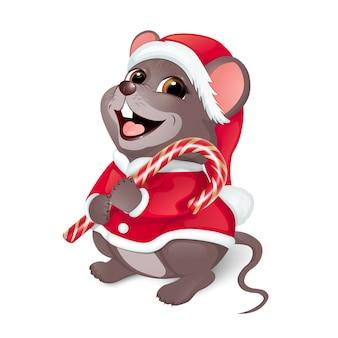Feliz navidad saludos. feliz ratón con un traje rojo de santa.