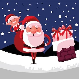 Feliz navidad santa ayudante y bolsa en la chimenea con nieve ilustración
