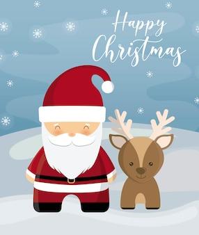 Feliz navidad con santa claus y eindeer en paisaje de invierno