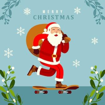 Feliz navidad santa claus montando patineta ilustración vectorial