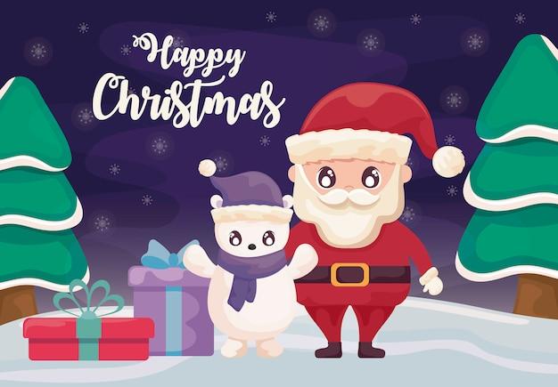 Feliz navidad con santa claus y oso polar