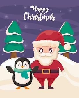 Feliz navidad con santa claus y pingüino