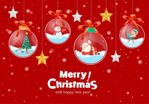 Feliz navidad con santa claus regalos plantilla tarjeta de felicitación, bola de cristal colgando.