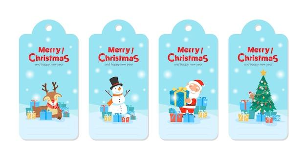 Feliz navidad con santa claus regalos plantilla tarjeta de felicitación