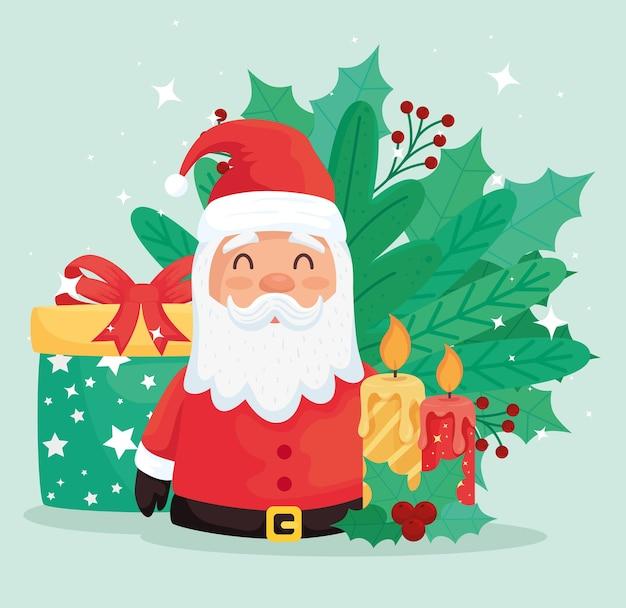 Feliz navidad santa claus con regalos y velas, diseño de ilustraciones
